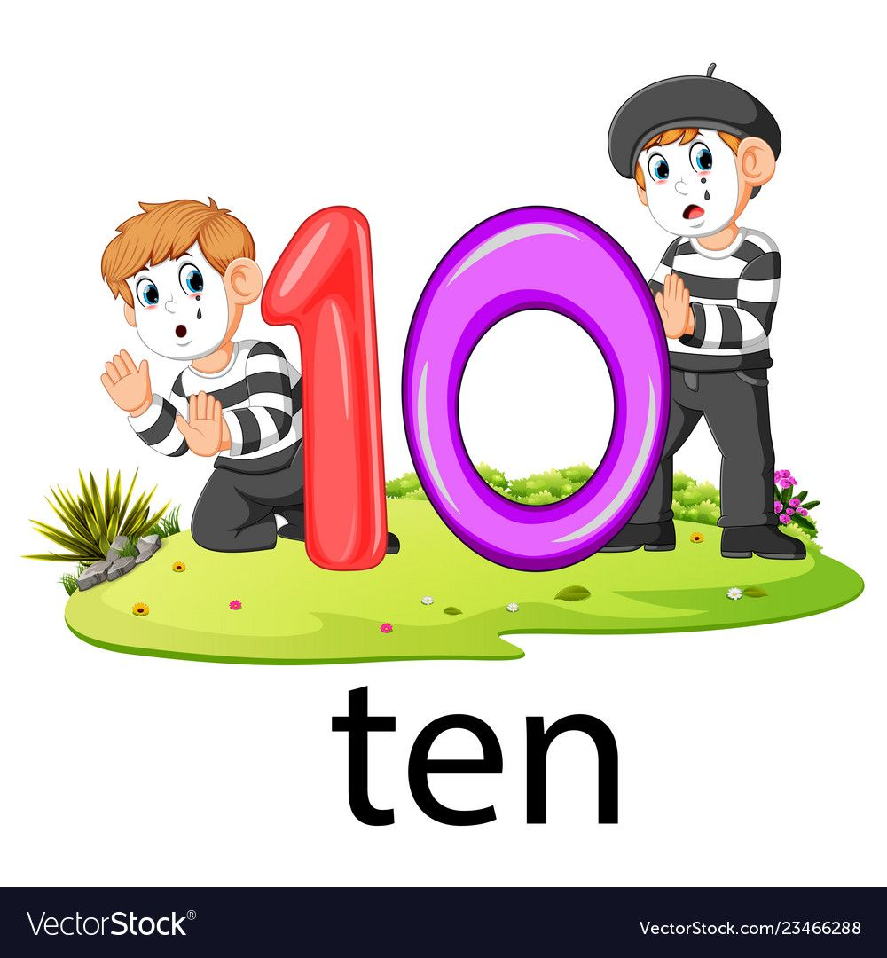 Two Pantomime Playing With The 10 Balloon Number Vector Image On