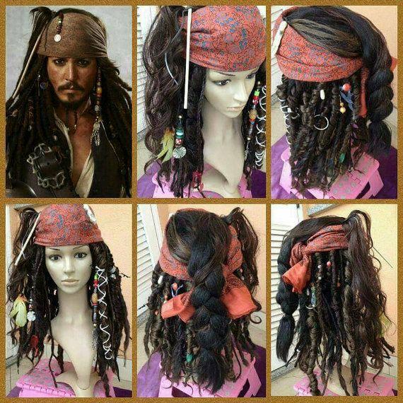 Linen Headscarf and Brown Replica Captain Jack Sparrow POTC Pirate Costume Dread Lock wig j7W9HDe
