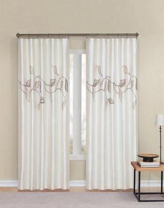 Manila faux silk lined curtain panel