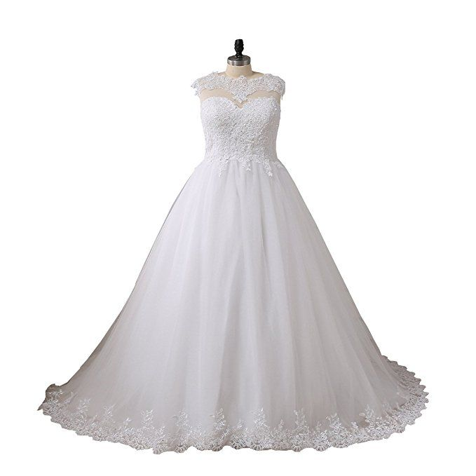 YIPEISHA Women\'s Plus Size Applique Beads Wedding Dress $88 ...
