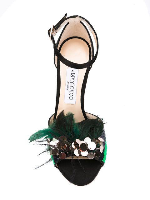 Shop Jimmy Choo feather sandals.