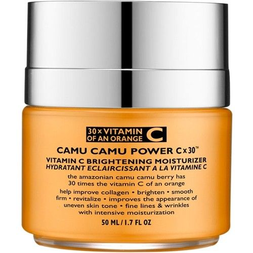 The Amazonian Camu Camu berry has 30 times the Vitamin C of an orange.  This highly concentrated Vitamin C has superior absorption properties due to its low molecular weight allowing it to better penetrate the skin
