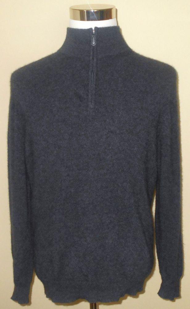 Details about Jos. A. Bank Men's L Charcoal Gray Cashmere 1/4 Zip ...