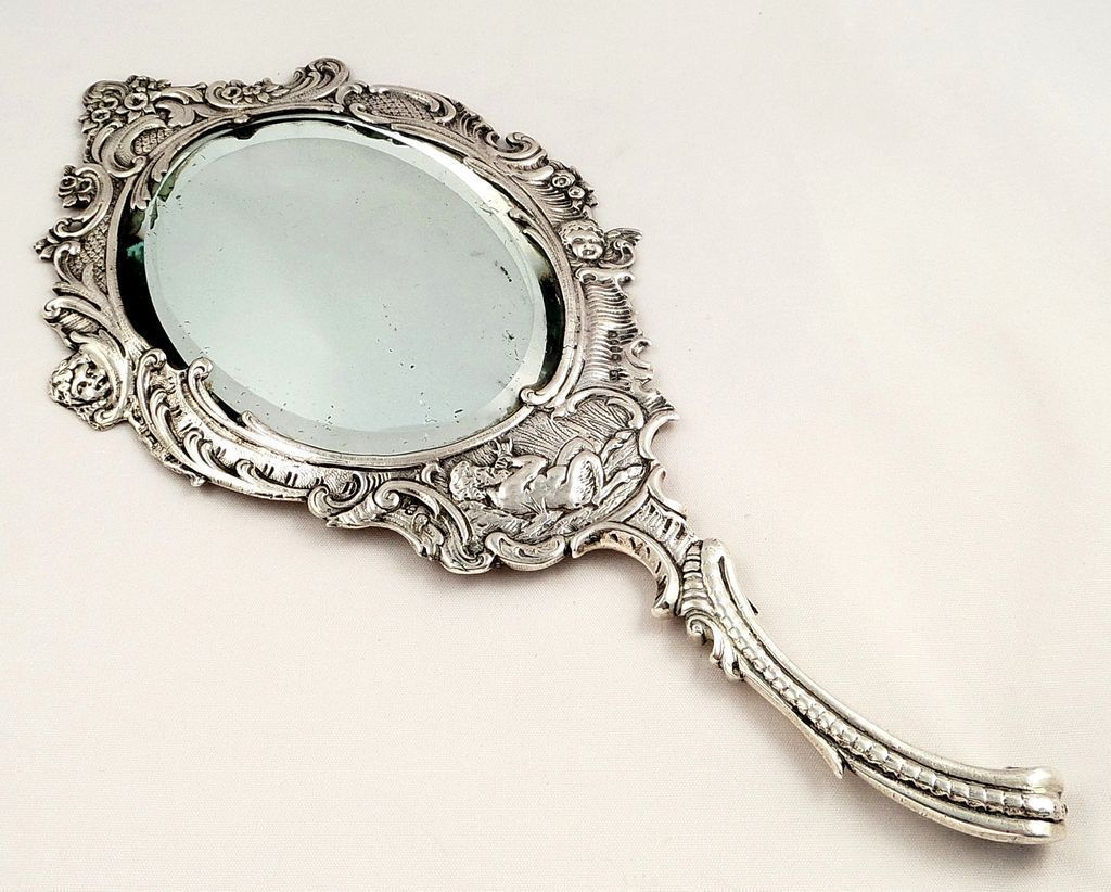 Antique victorian sterling silver hand mirror 1899 for Victorian mirror