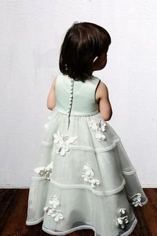 Robe De Cortège Filles Avec Fleurs Organza Sans Manches Foisonné