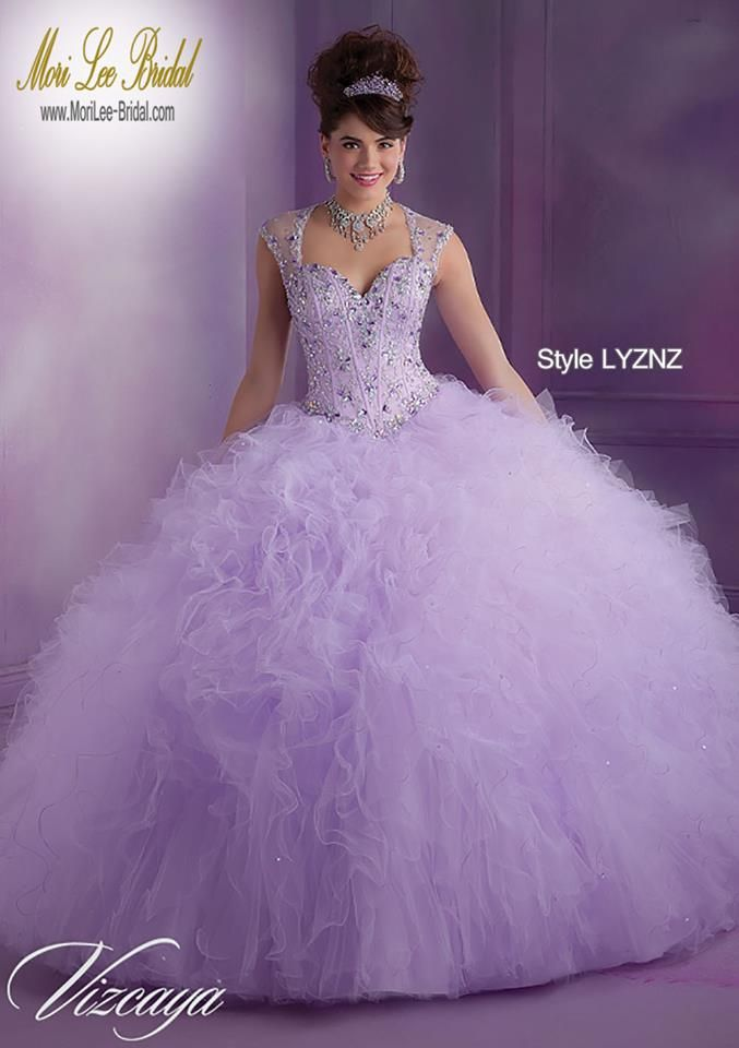 Style LYZNZ Ruffled Tulle Quinceanera Gown with Beading Matching ...