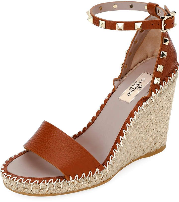 84ee255e896 Valentino Rockstud Double Espadrille Wedge Sandals in 2019 ...