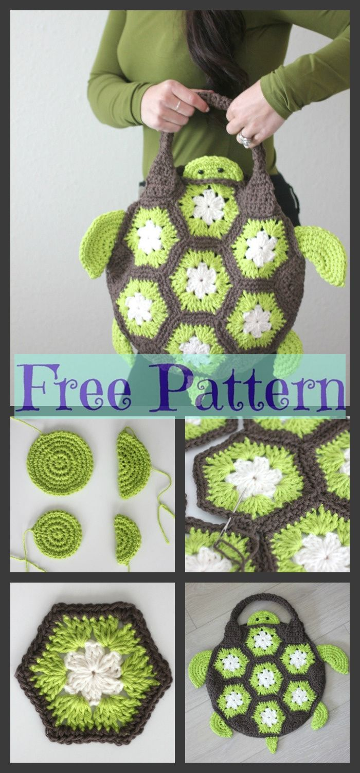 Crochet Sea Turtle Tote - Free Pattern #crochetturtles