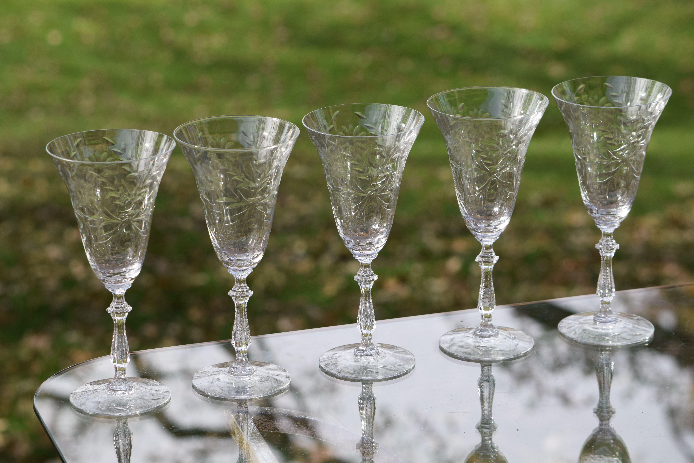 2 Vintage Needle Etched Floral Wine Craft Cocktail Glasses