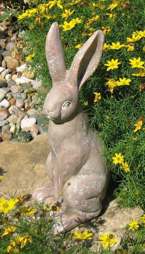 Terra Cotta Bunny Rabbit Statue Figurine Primitive French 400 x 300