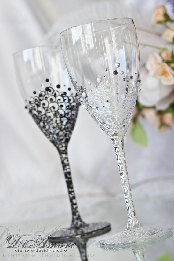 Black White Wedding Wine Gles Lace Bride And Groom Pearls Crystals