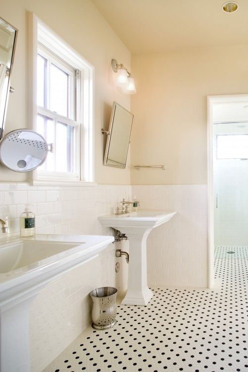 Bathroom Tiles Traditional subway tile bathroom, angled square mirror, cream walls i