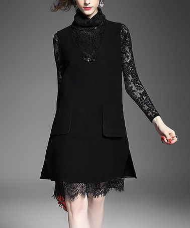 Another great find on #zulily! Black Lace-Sleeve Wool-Blend Shift Dress #zulilyfinds