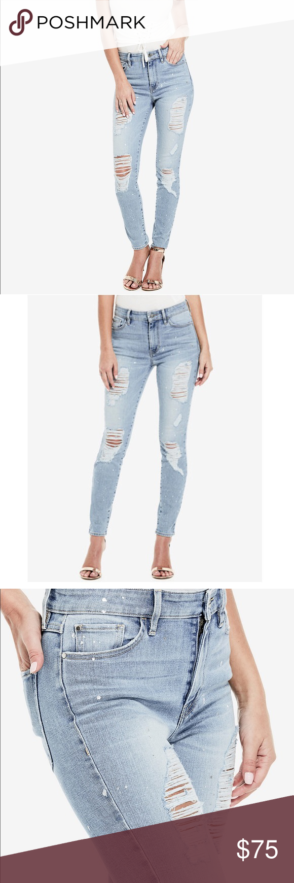 a276a8cb830 NWT {guess} light wash ripped skinny jeans! NWT new guess Los Angeles 1981