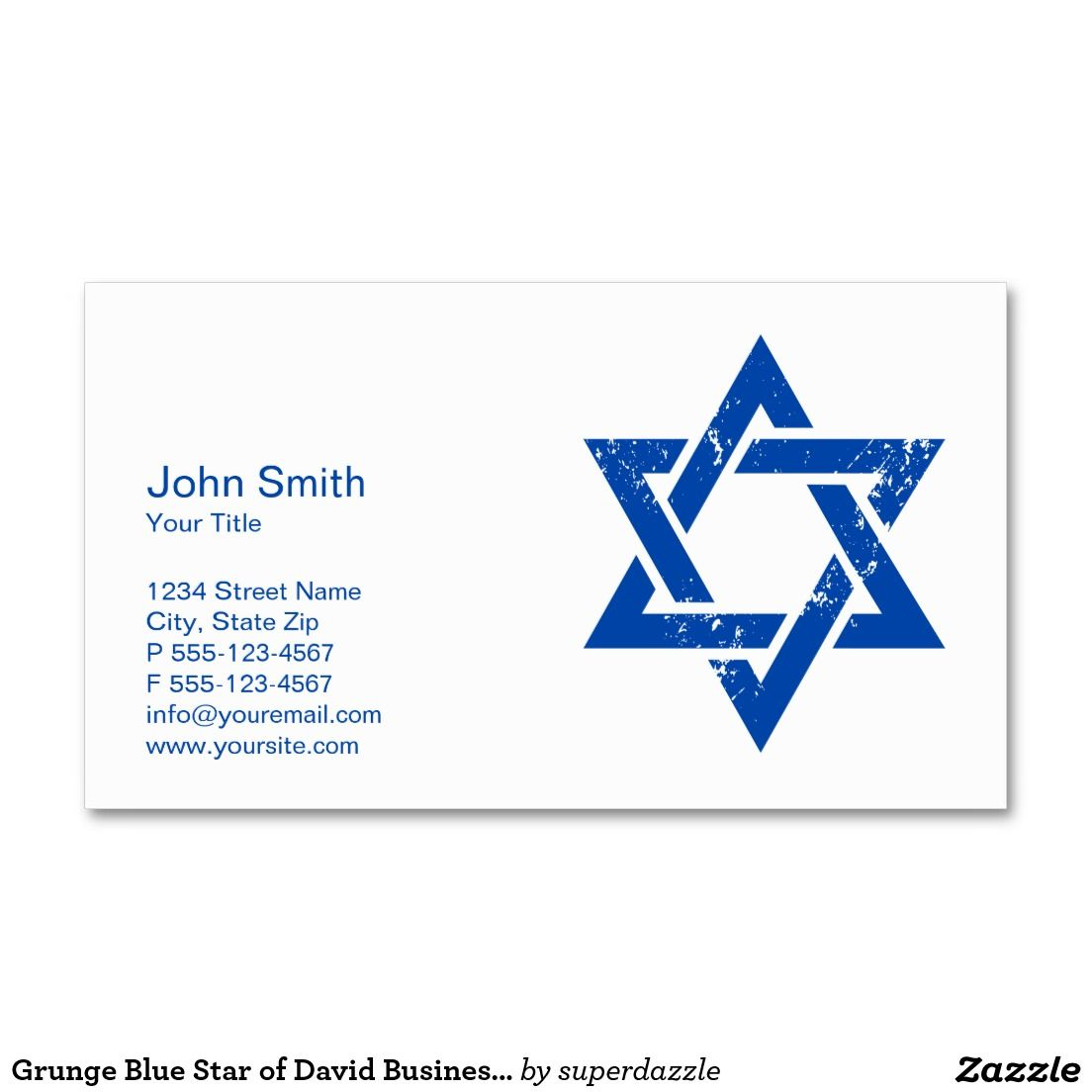 Grunge blue star of david business card template pinterest card this simple and elegant blue star of david business card is fully customized you can change all colors of texts and background to make reheart