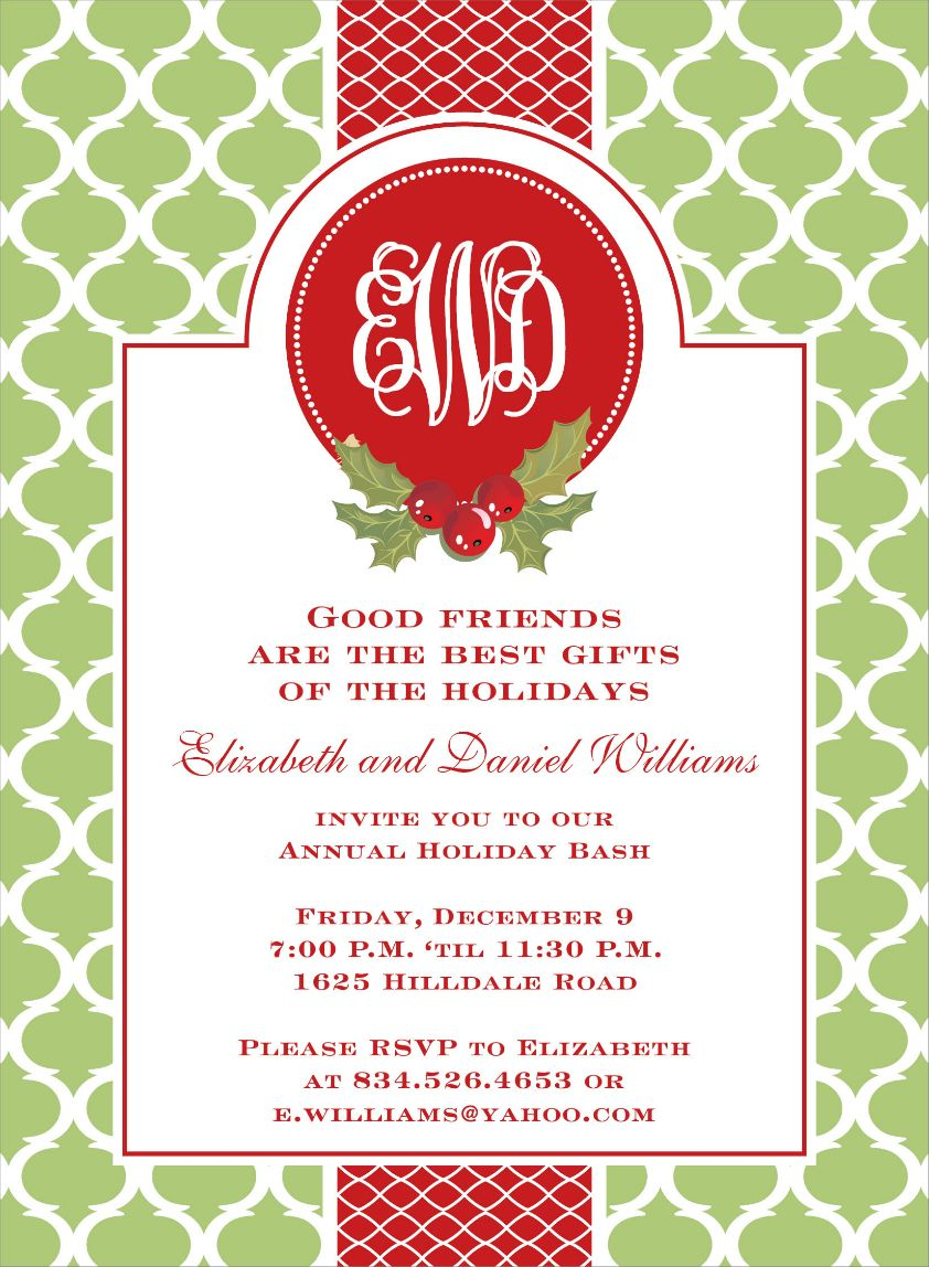 Preppy Holiday Wasabi Invitations by Noteworthy