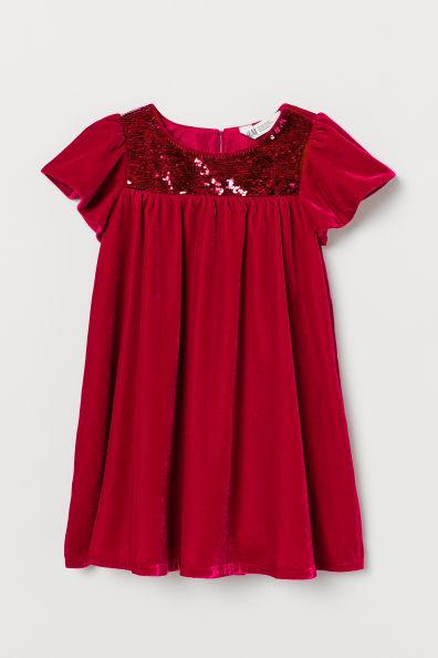 Aksamitna Sukienka Z Cekinami Czerwony Dziecko H M Pl In 2020 Velvet Dress Red Velvet Dress Dresses