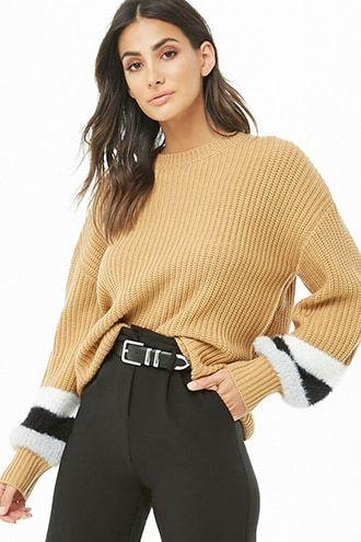 efd8af0e2ff Faux Fur-Trim Knit Sweater