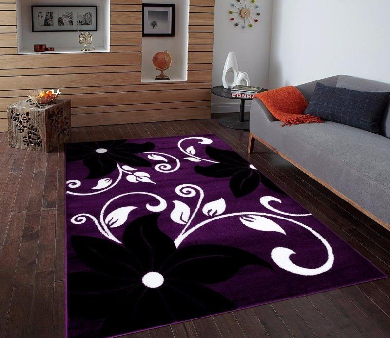 T1014 Purple Black White 7 10 X 10 2 Floral Oriental Area Rug