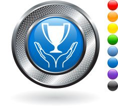 trophy royalty free vector art on metallic button vector art illustration