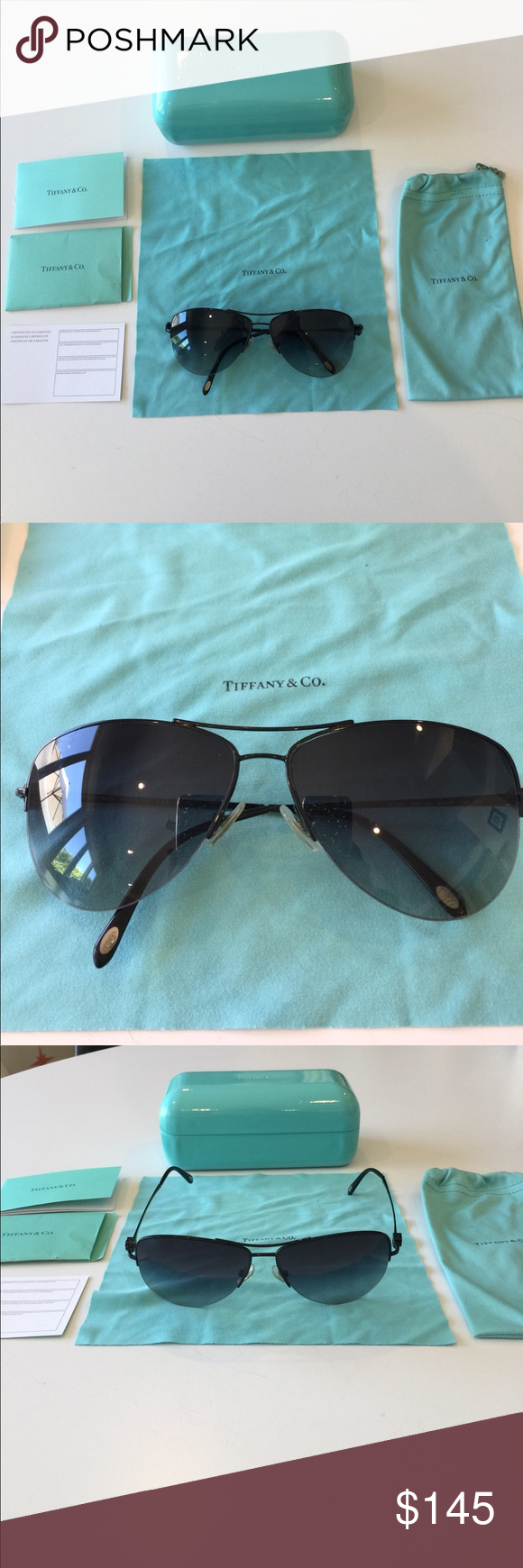 3482e0425615 Authen Tiffany   Co. black Aviator Sunglasses Women s Tiffany   Co TF 3021  black frame sunglasses. Gently used and in Excellent condition and comes  with ...