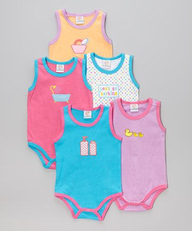 This Pink & Blue Bath Time Bodysuit Set by Sweet & Soft is perfect! #zulilyfinds