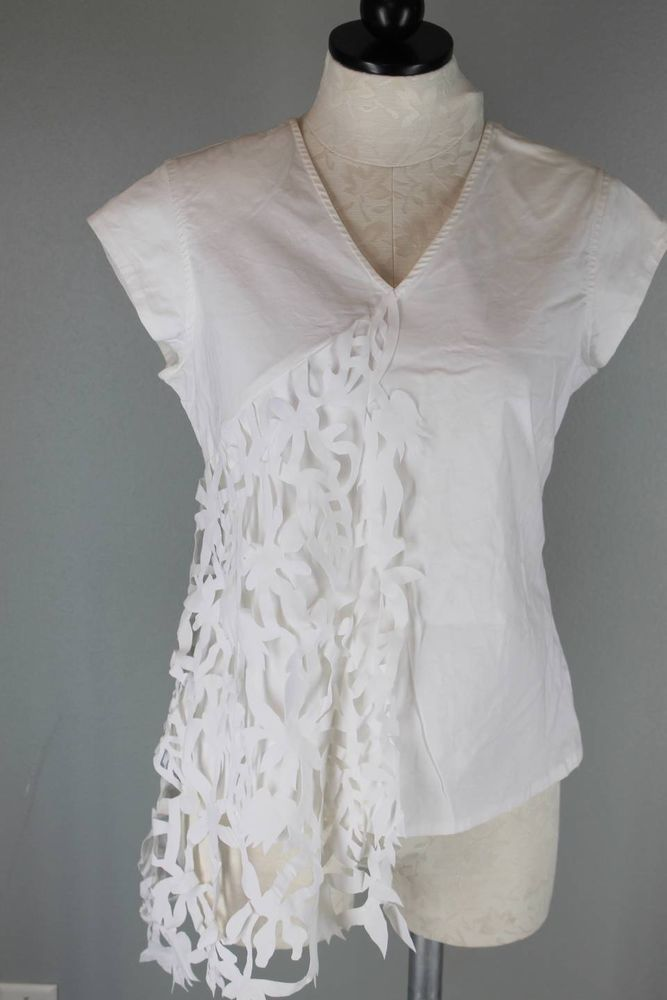 Jsong ...Way Unique White Stretch Cotton Top w/Floral Cutout Overlay Size 10 #JSong #Blouse