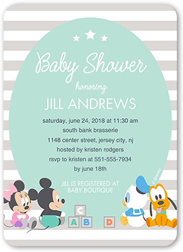 Baby Shower Invitation Disney Mickey And Friends Stripe Rounded Corners Blue