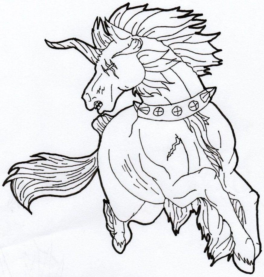 Evil Unicorn Line Art By Https Kobayashi Maruu Deviantart Com On Deviantart Horse Drawings Art Drawings