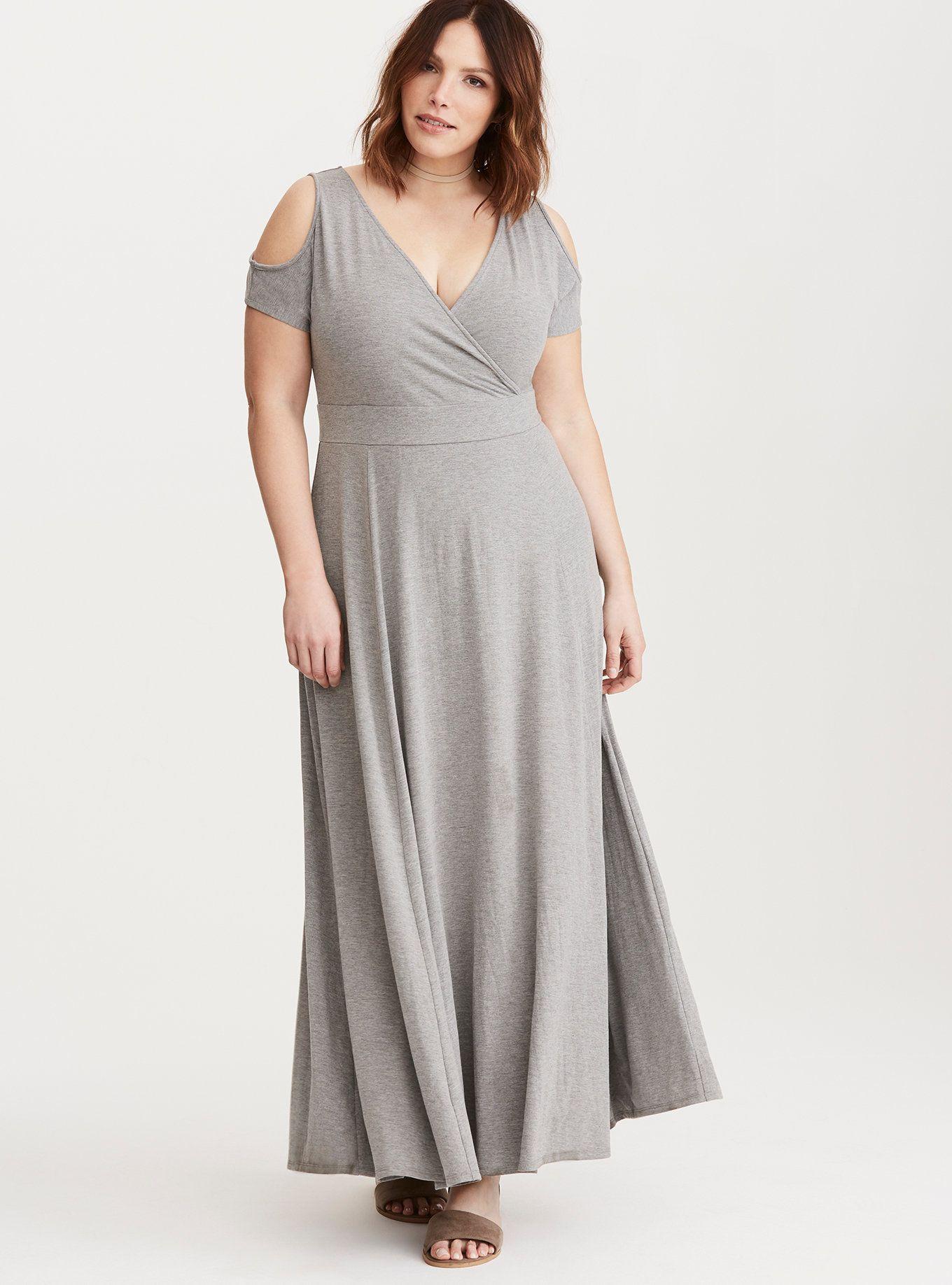 Jersey Cold Shoulder Surplice Maxi Dress | plus sizes | Dresses ...