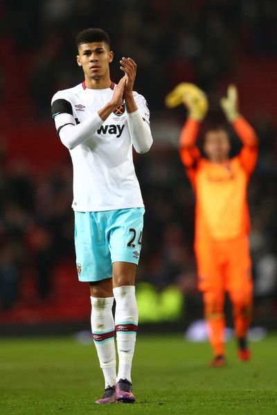 Ashley Fletcher of West Ham United applauds fans following the EFL Cup quarter final match between Manchester United and West Ham United at Old Trafford on November 30, 2016 in Manchester, England.