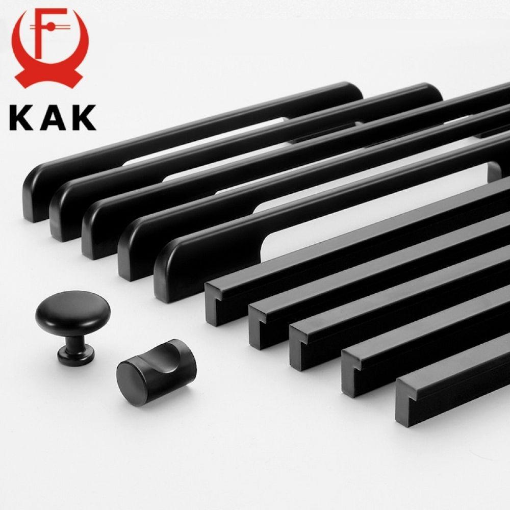 KAK Fashion Black Hidden Cabinet Handles Aluminum Alloy ...