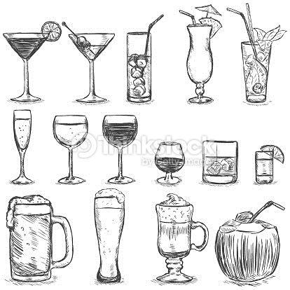 Vektorgrafik : Vector Set of Sketch Cocktails and Alcohol