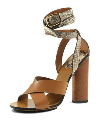 45ee61777d8 Snakeskin Ankle-Wrap Sandal