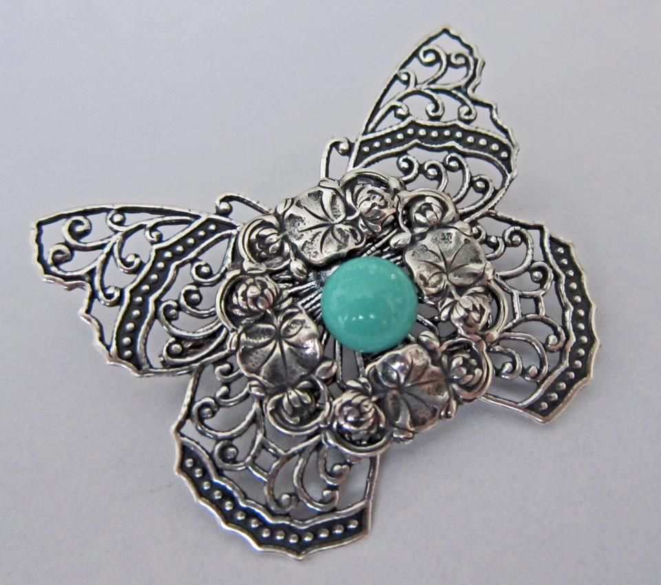 Such a pretty brooch!  made with silverware silverplated components by Margo Horowitz, The Bead Lady