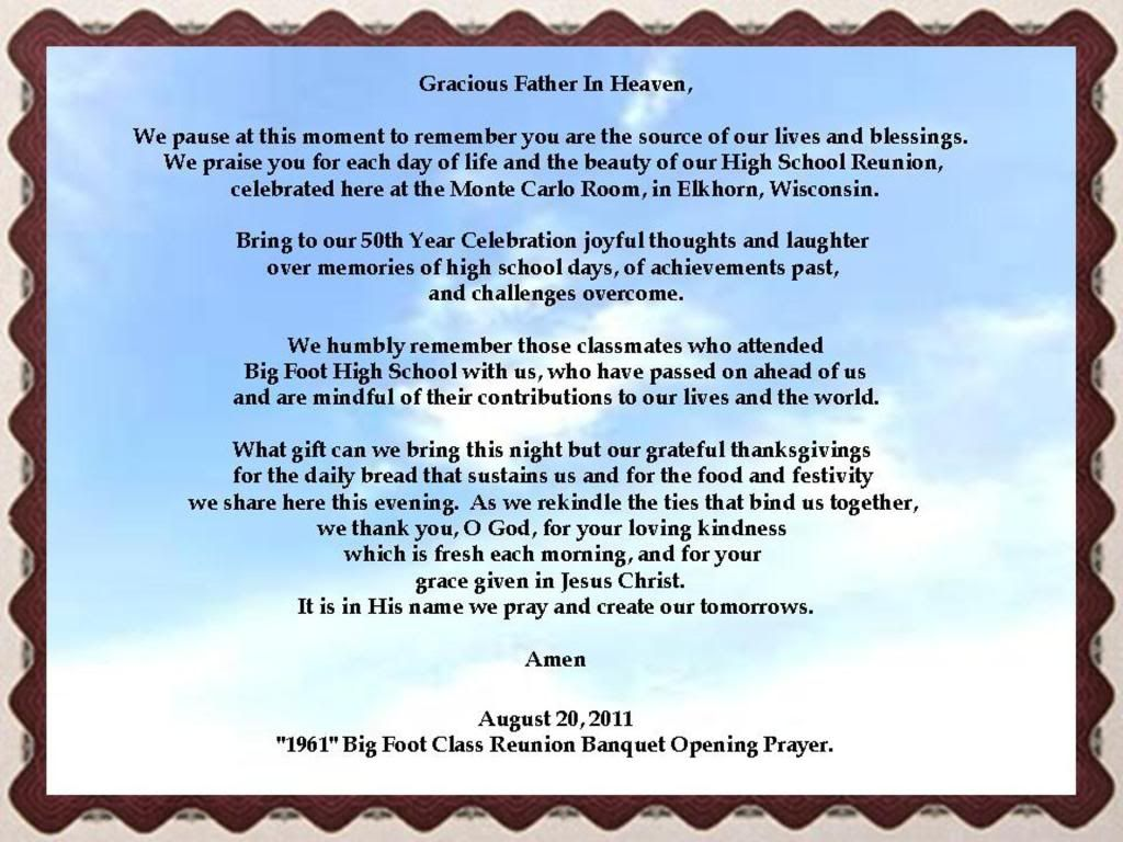 invocation prayers for high school alumni banquets