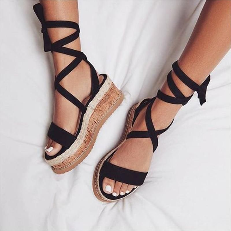 Clothing, Shoes & Accessories Womens Summer Espadrilles Flatforms Strappy Sandals Wedge Platform Lace Tie Up Grade Products According To Quality