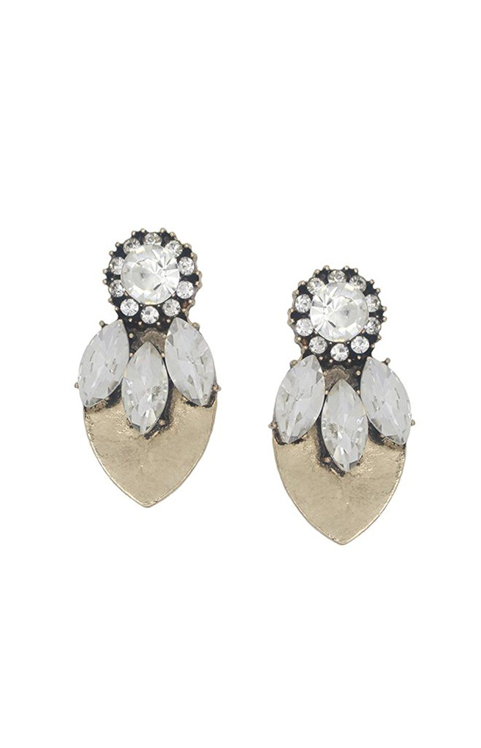 Trendy Golden Leaf With Crystal Stud Earring The Bling S Online At Low Prices In India On Winsant Fastest Ping Website