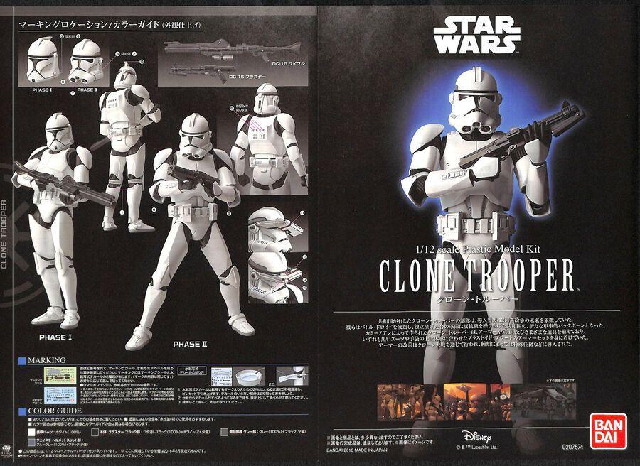 Bandai Star Wars clone trooper 1//12 scale plastic model  Japan