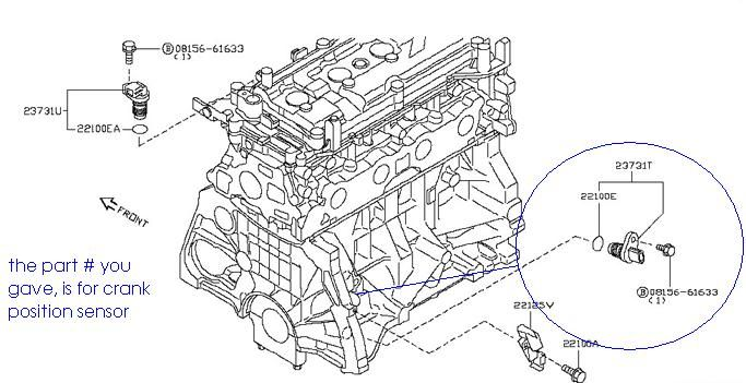 nissan x trail crankshaft position sensor position