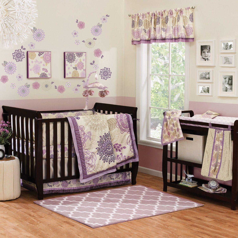 Baby cribs amazon - Amazon Com Dahlia 6 Piece Lavender Flower Baby Girl Crib Bedding Set With Bumper