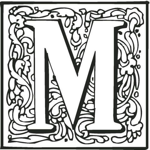Letter M With Ornament Coloring Page From English Alphabet Ornaments Category Select 26307 Printable Crafts Of Cartoons Nature Animals