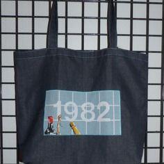 """Sac cabas jean bleu calendrier vintage """"1982"""" doublé coton multicolore"""