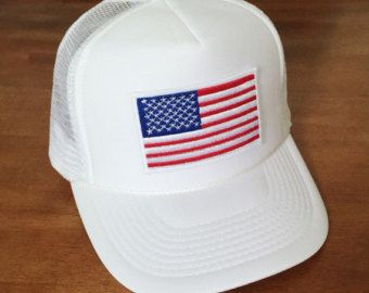 Black & White AMERICAN FLAG-Black Hat with by