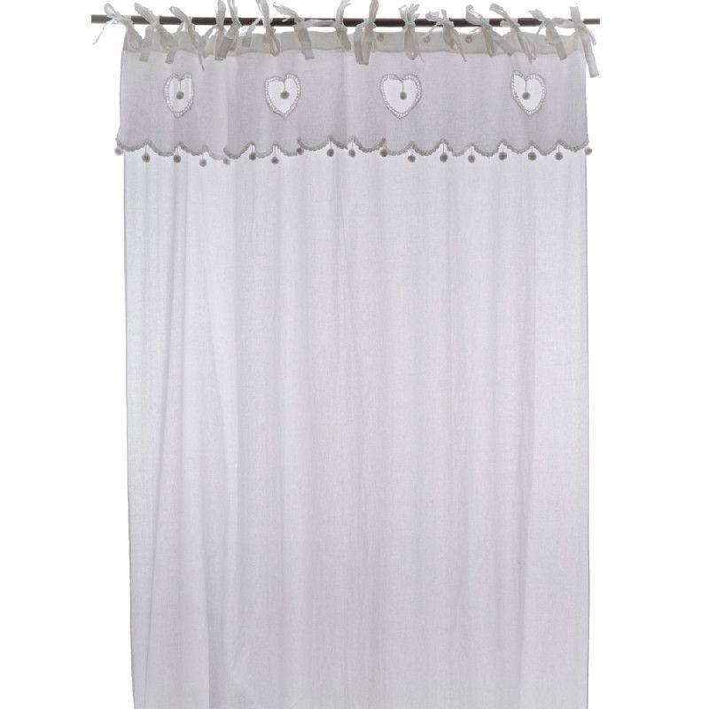 rideau long coton blanc bandeau