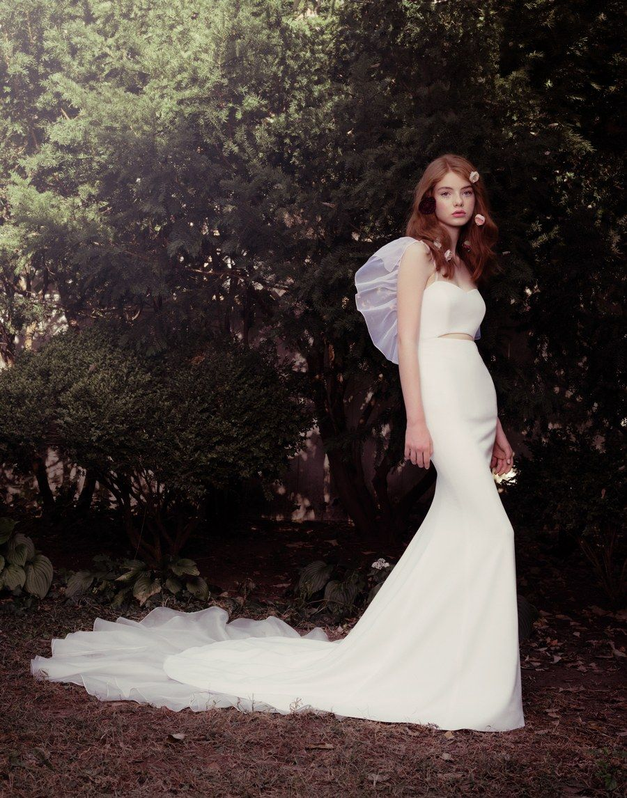 Crepe cutout gown with silkorganza tiered train and adjustable