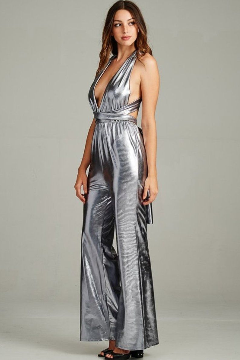2a006ed38466 Intergalactic Metallic Jumpsuit in Silver Silver Jumpsuits
