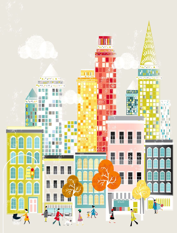 New York NYC Travel Poster, Wall Art Prints, Cityscape Illustration ...