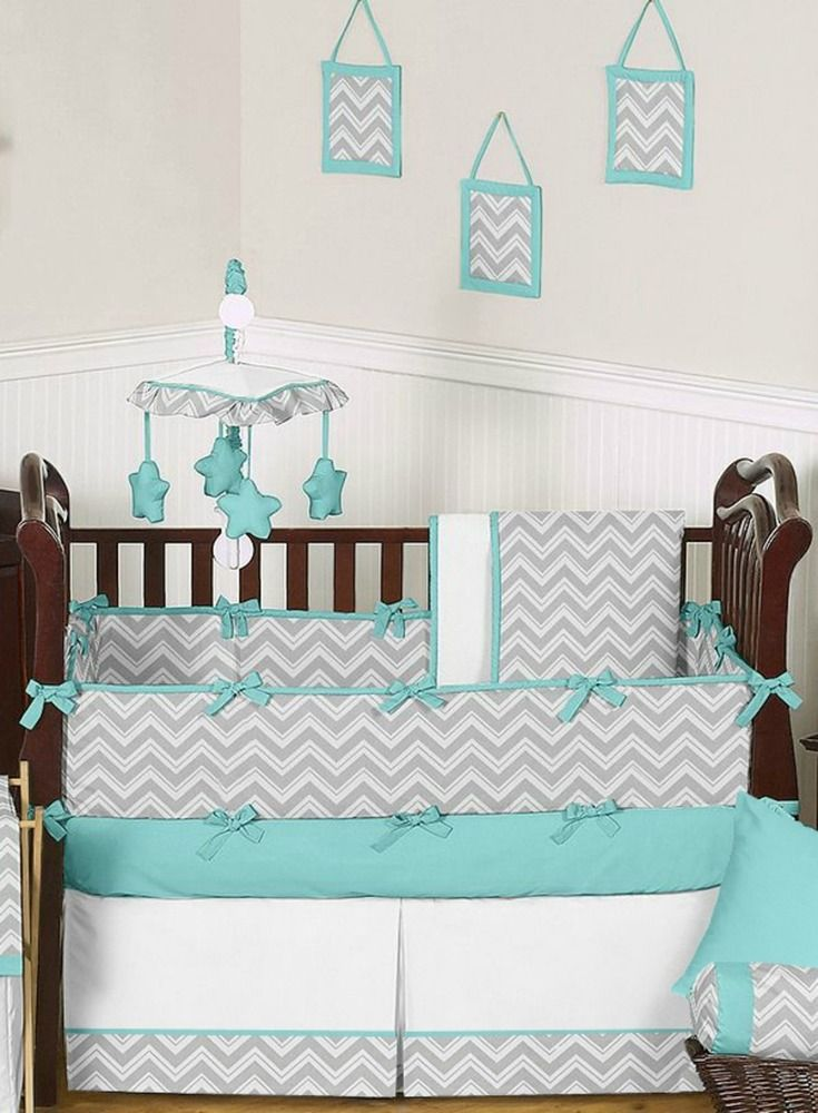 Baby S Own Room Turquoise And Gray Zig Zag Crib Bedding By Sweet Jojo Designs