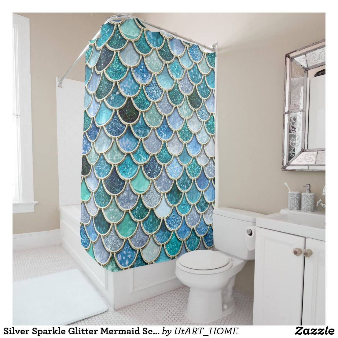 The Glittery World Of Silver Bedroom Ideas: Silver Sparkle Glitter Mermaid Scales Shower Curtain